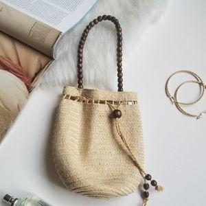 Mini Woven Handbag with Wooden Beads